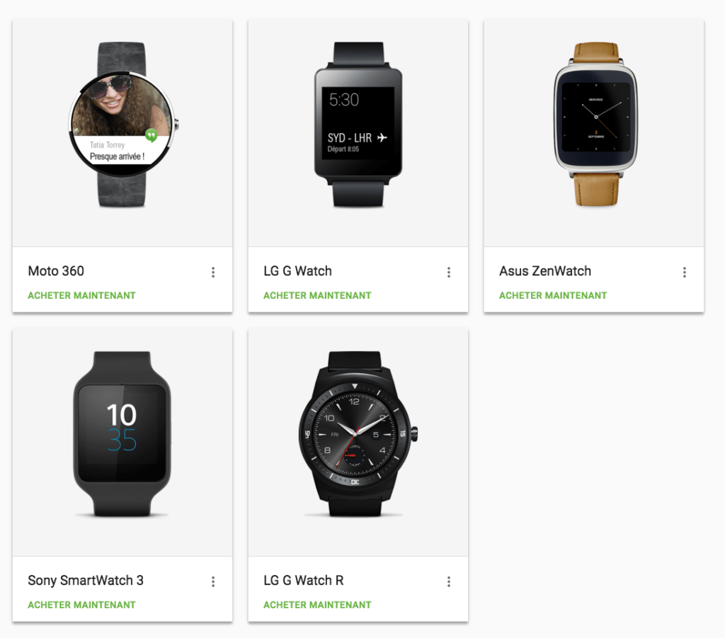 Gamme de montre disponible sous Android Wear en mars 2016