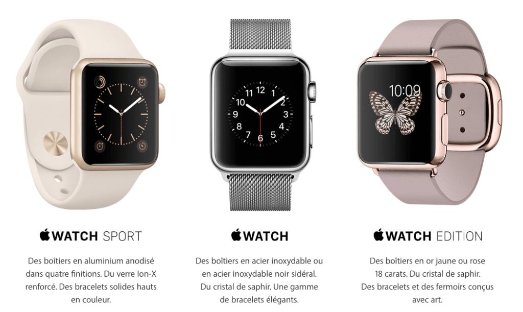 Il existe trois modèles différents d'Apple Watch