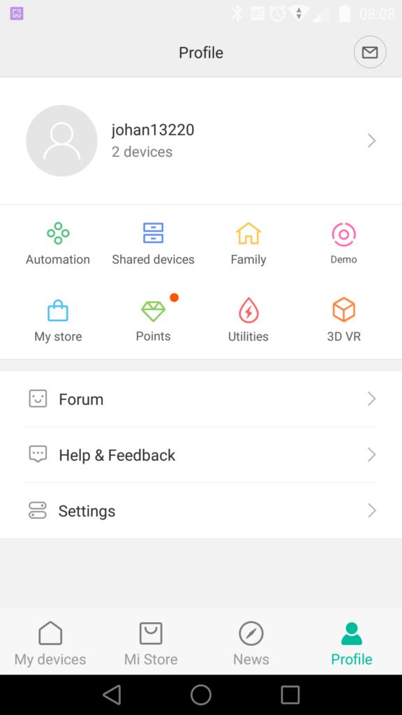 Le compte Xiaomi permet de stocker vos réglages dans le Cloud.
