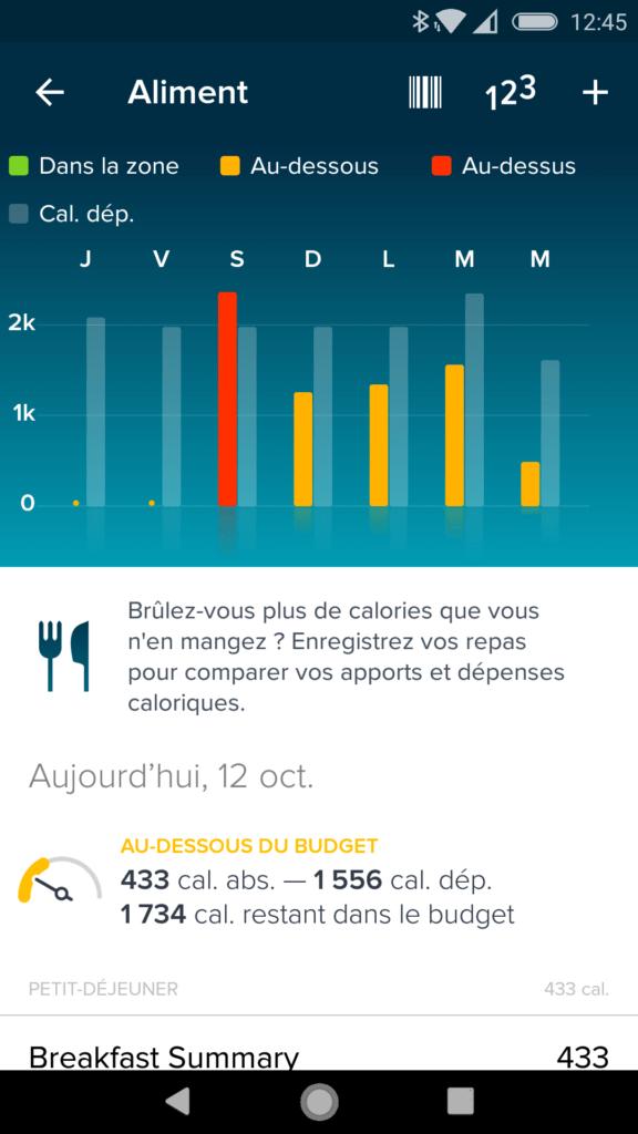 Fitbit Charge 2 suivi repas
