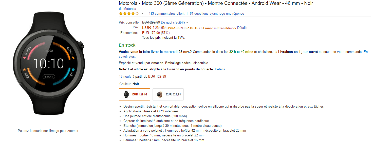 Promotion Amazon Black Friday Moto 360
