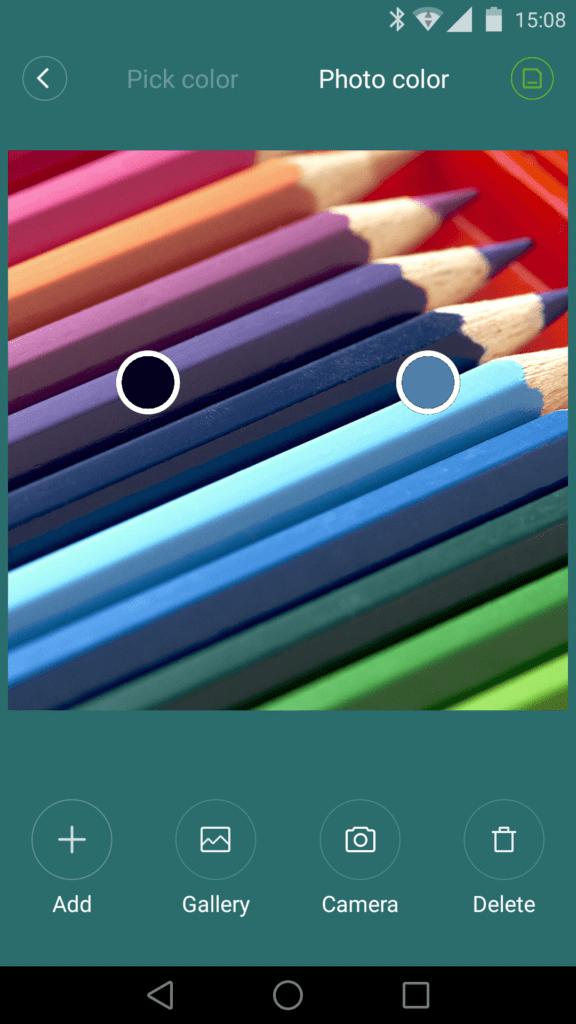 En mode Flow vous pouvez choisir la palette des couleurs à partir d'une photo.