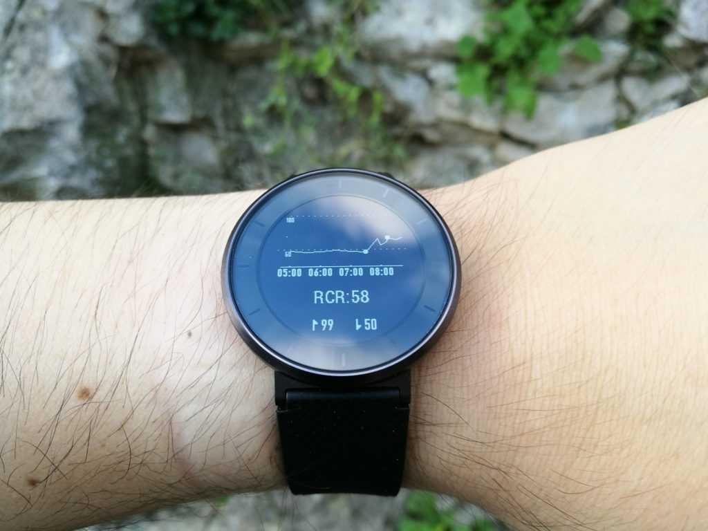 La montre peut afficher un graphique, un peu comme sur les traqueurs Garmin.