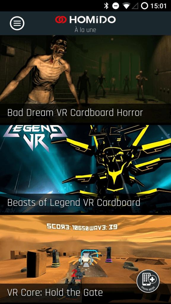 L'application Homido Center permet de trouver du contenu VR facilement.