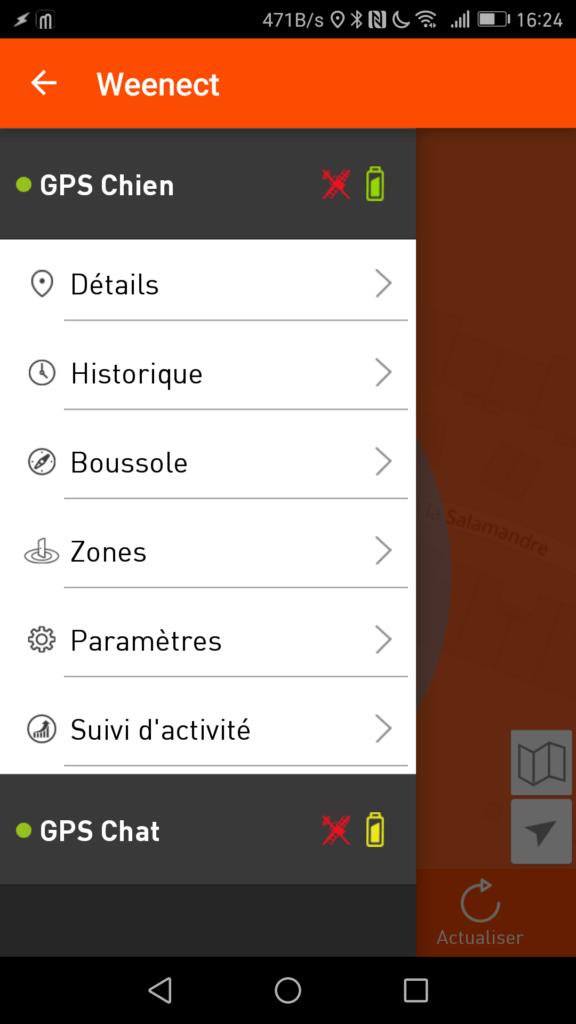 Le menu latéral permet d'accéder aux fonctions de chaque balise Weenect.