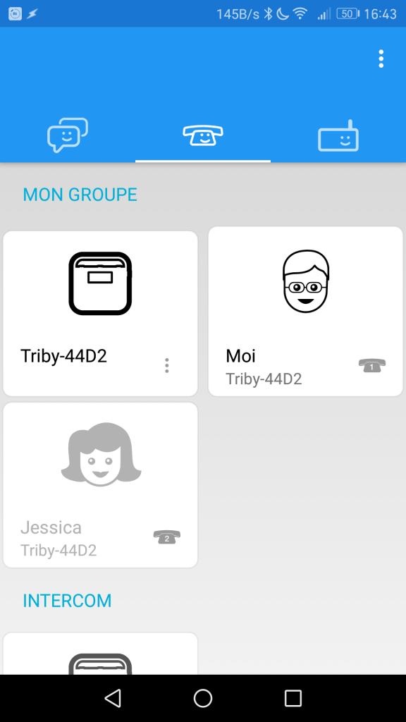 Interface de l'application Triby.
