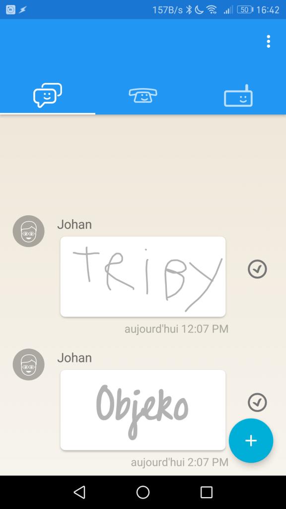 Envoi de messages sur la radio Triby Family.