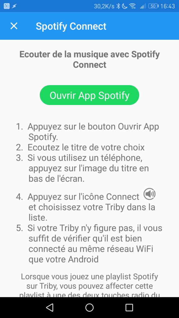 Spotify Connect permet d'écouter vos playlists préférées sur la Triby Family.
