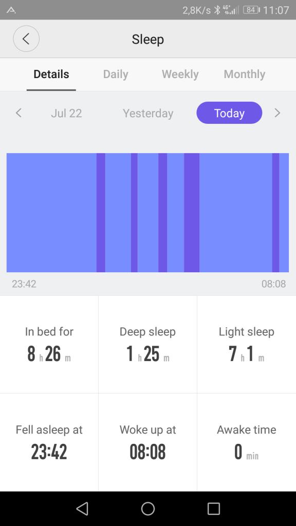 Le suivi du sommeil n'est pas le point fort de la montre Amazfit Pace.