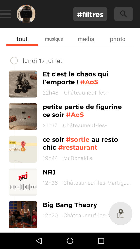 L'application Yuzz.it se présente sous forme de chronologie.