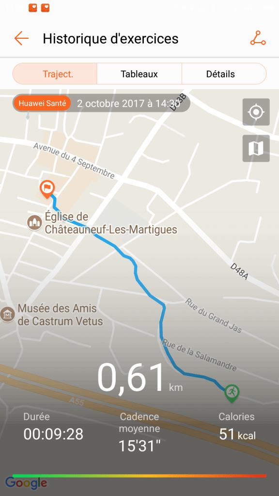 Trajectoire GPS Band 2 Pro