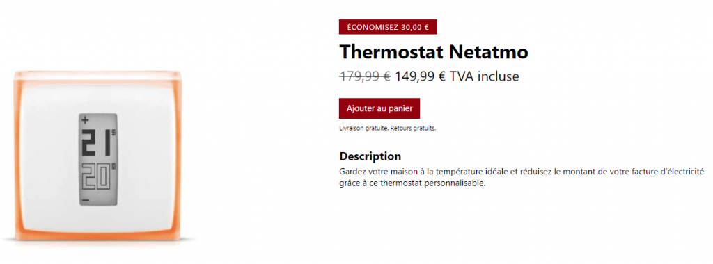 Bon plan thermostat Netatmo