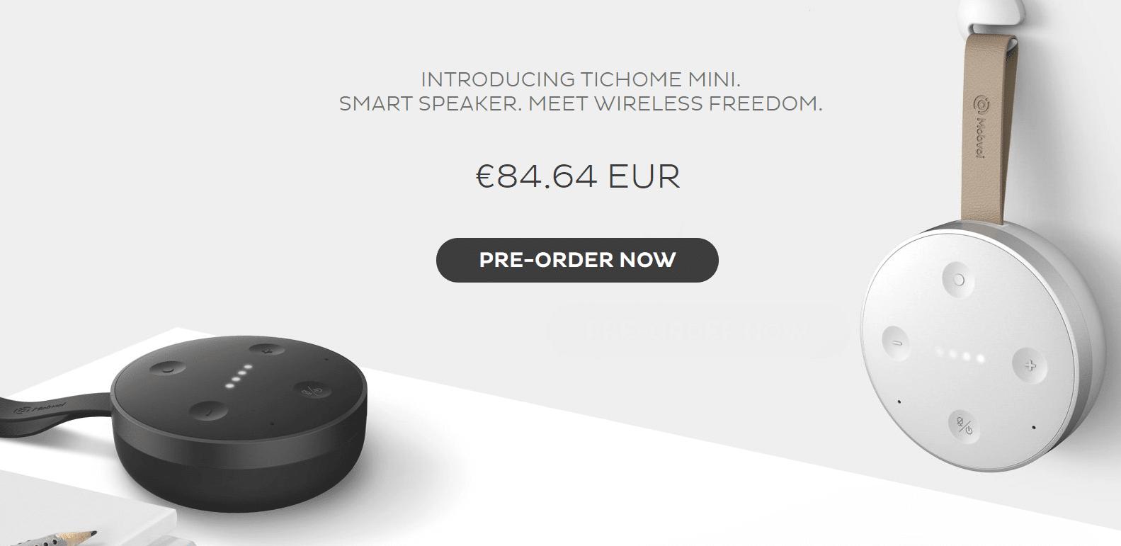 tichome mini la premi re enceinte google assistant portable. Black Bedroom Furniture Sets. Home Design Ideas