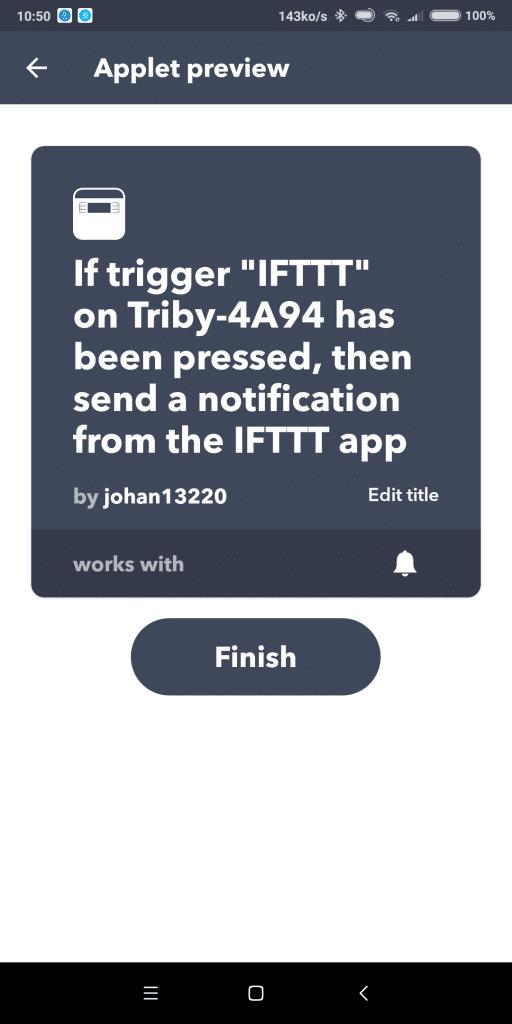 IFTTT sur radio Triby