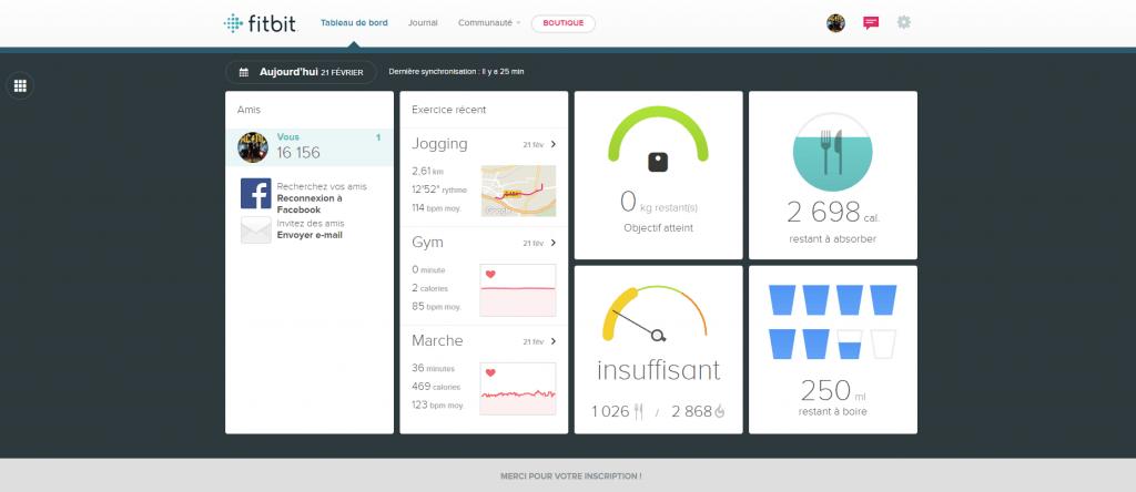 Fitbit suivi des données via navigateur web