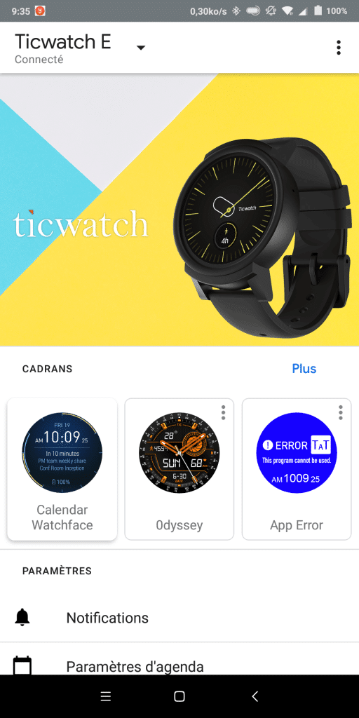 Application Wear OS Android Wear