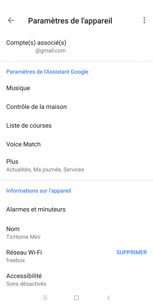 Réglages application Google Home