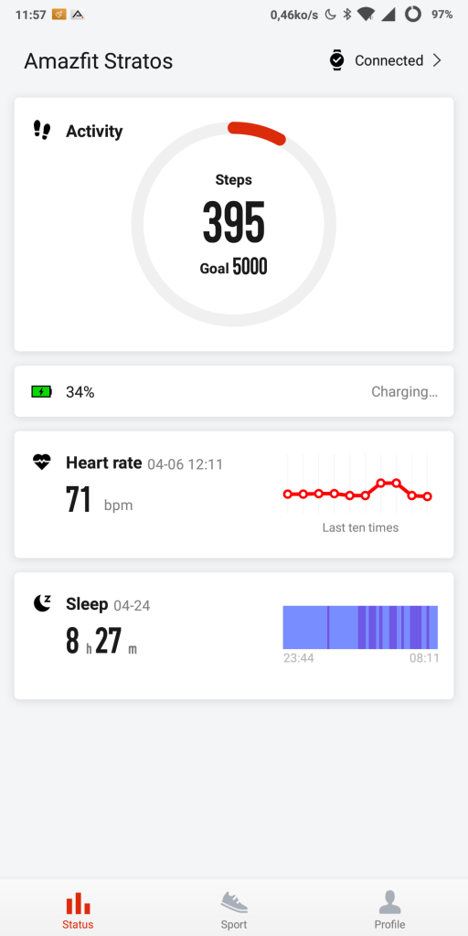 Application Amazfit nouveau design
