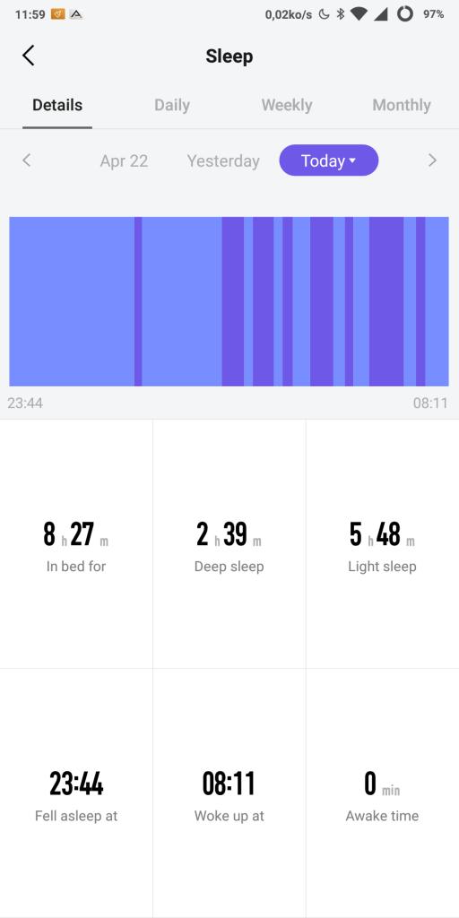 Suivi du sommeil Amazfit Stratos