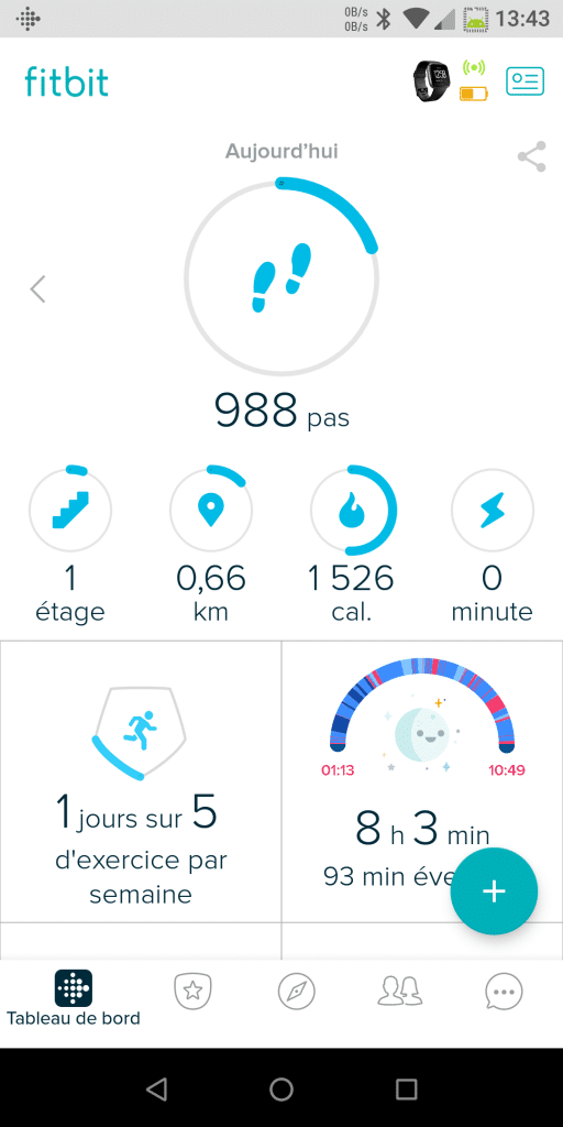Interface application Fitbit