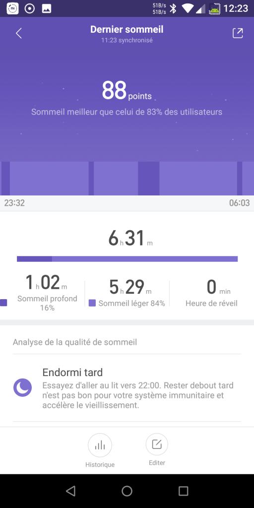 Suivi sommeil Xiaomi Mi Band 3