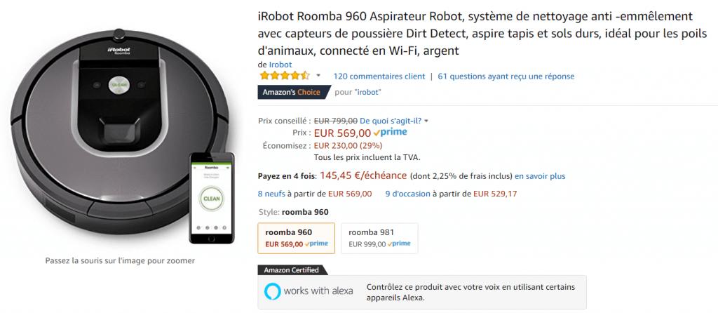 Bon plan iRobot Roomba 960