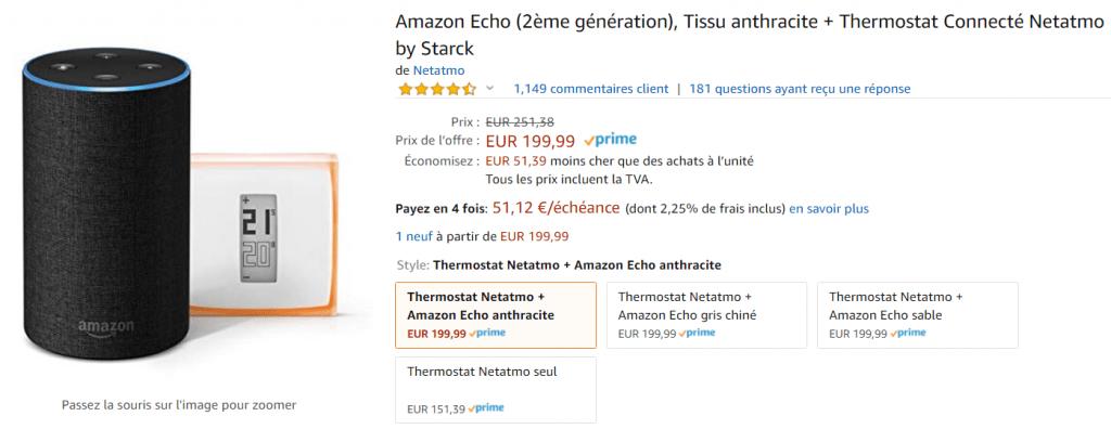 Promo Amazon Echo Netatmo