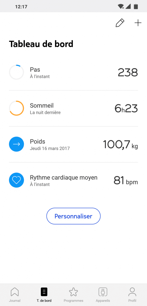 Tableau de bord appli Withings