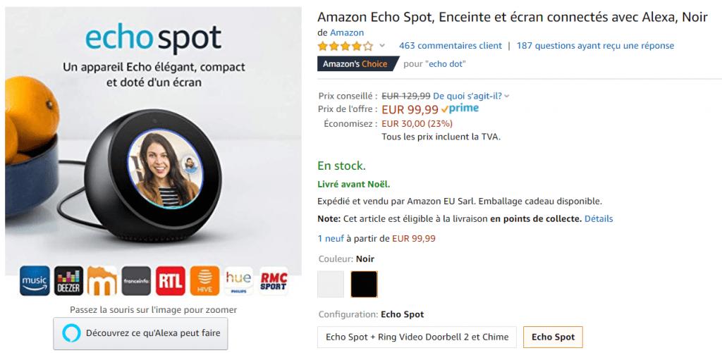 Bon plan Amazon Echo Spot