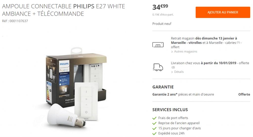 Promos Philips Hue ampoule connectée