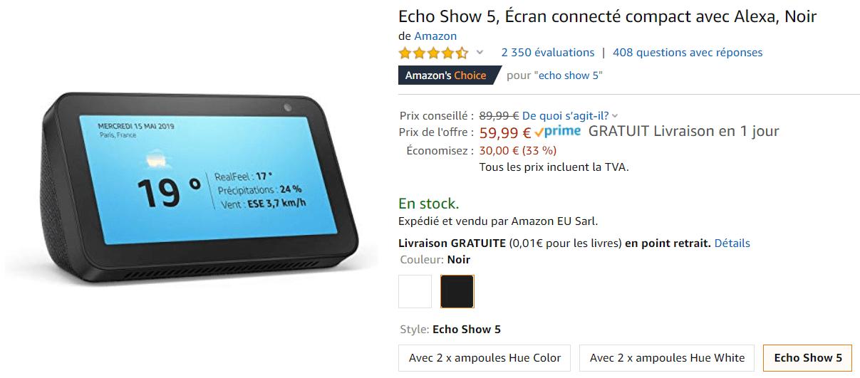 Bon plan Echo Show 5