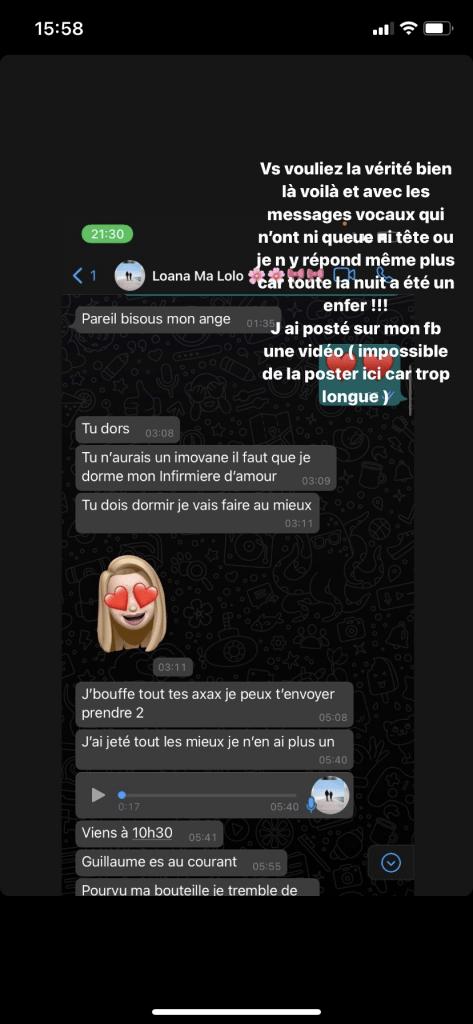 message-de-loana-a-sylvie-ortega-instagram