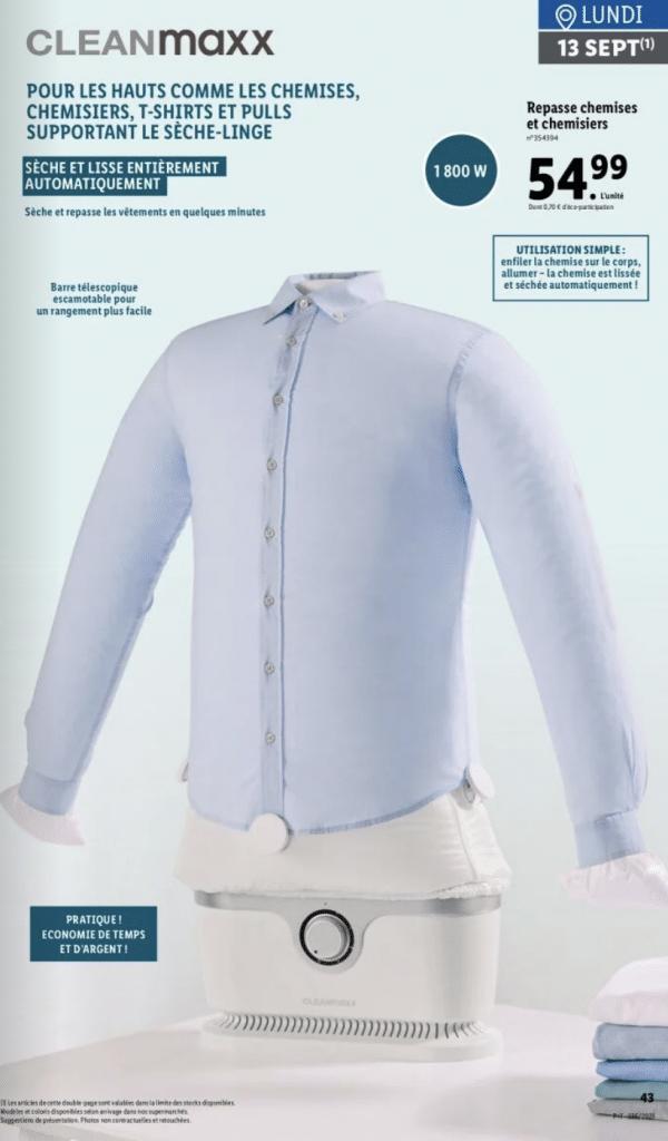 Lidl frappe à nouveau très fort, l'enseigne pensent à tous ceux qui n'aiment pas le repassage, fini les chemises froissées avec cet appareil révolutionnaire.