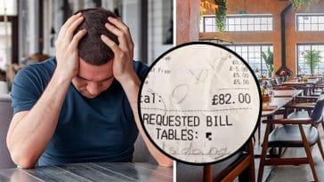 Un enfant laisse un message sur l'addition au restaurant alors que son père est aux toilettes